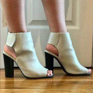 Vegan Leather Cream Peep Toe Sandal WORN ONCE.